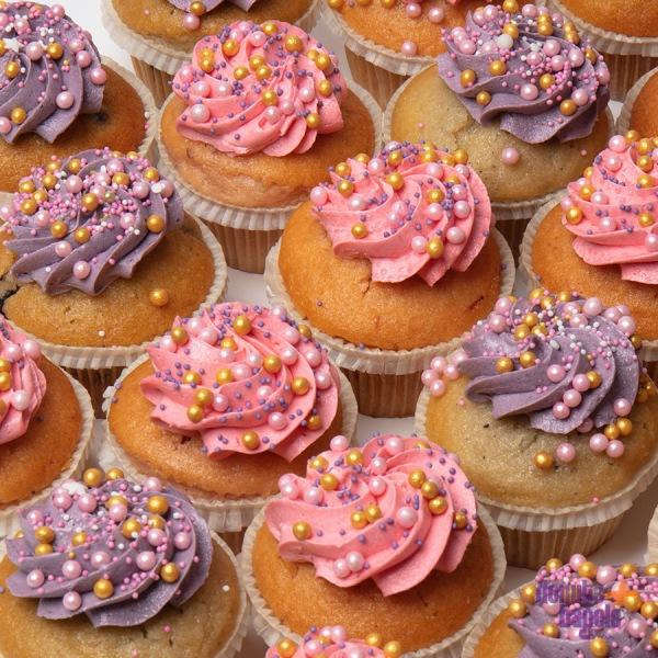 Cupcakes met Parels paars / roze