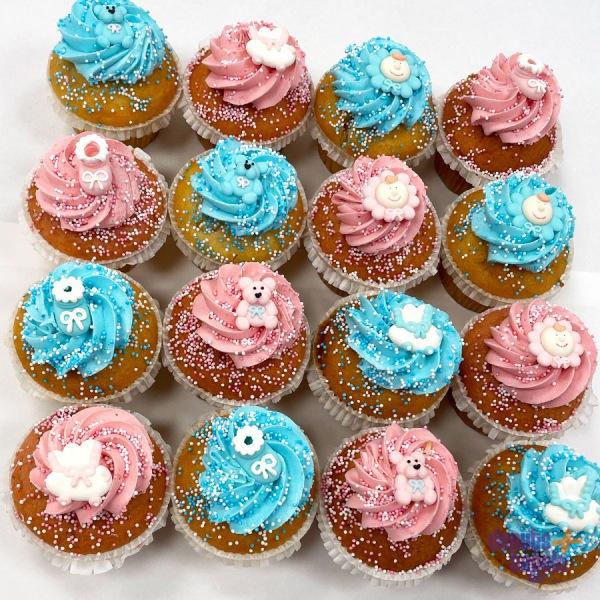 Babyshower Cupcakes Roze en Blauw